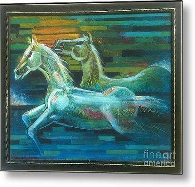 Rainbow Horses Metal Print by Minal Patel