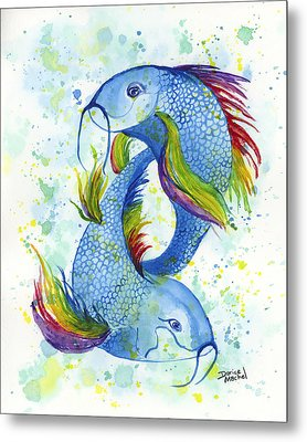 Metal Print featuring the painting Rainbow Koi by Darice Machel McGuire