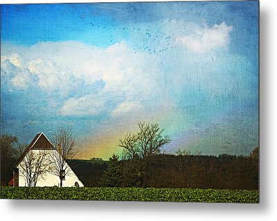 Rainbow Landscape Metal Print by Heike Hultsch