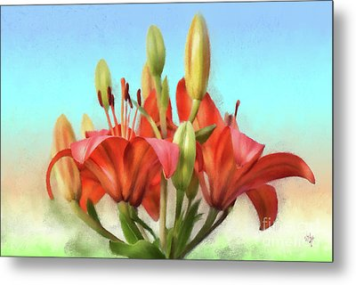 Metal Print featuring the photograph Rainbow Lilies by Lois Bryan