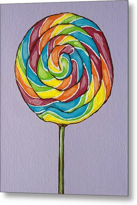 Rainbow Lollipop Metal Print by Sandy Tracey