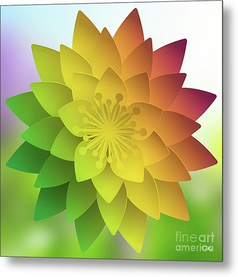 Metal Print featuring the digital art Rainbow Lotus by Mo T
