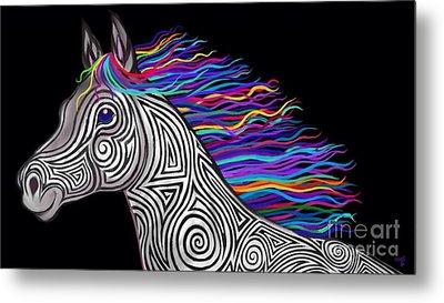 Rainbow Mane Mustang Metal Print by Nick Gustafson
