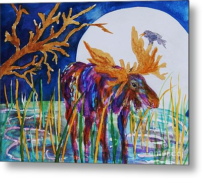 Rainbow Moose Night Grazing Metal Print by Ellen Levinson