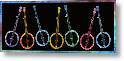 Rainbow Of Banjos Metal Print by Jenny Armitage
