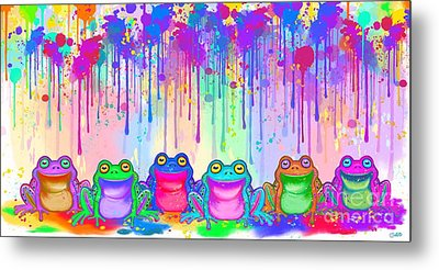 Metal Print featuring the painting Rainbow Of Painted Frogs by Nick Gustafson