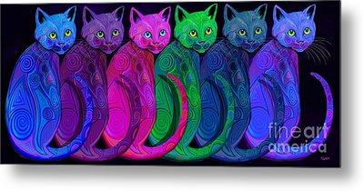 Rainbow Of Tribal Cats  Metal Print by Nick Gustafson