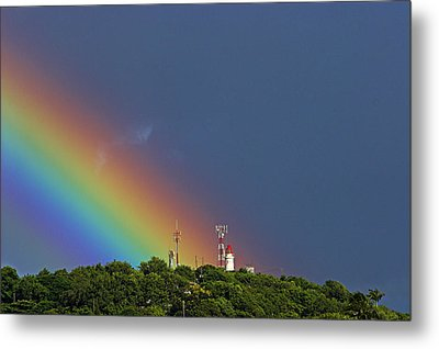 Rainbow On Lighthouse- St Lucia Metal Print