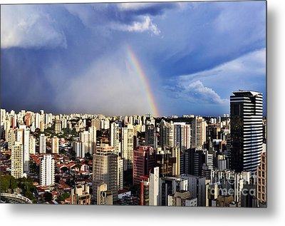 Rainbow Over City Skyline - Sao Paulo Metal Print