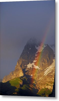 Rainbow Over Eiger Mountain Metal Print by Anne Keiser