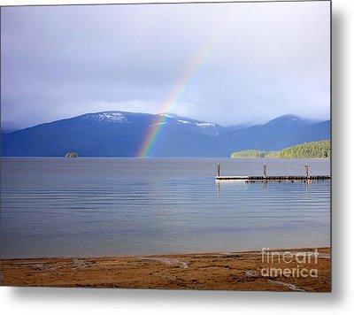 Rainbow Over Priest Lake Metal Print by Carol Groenen