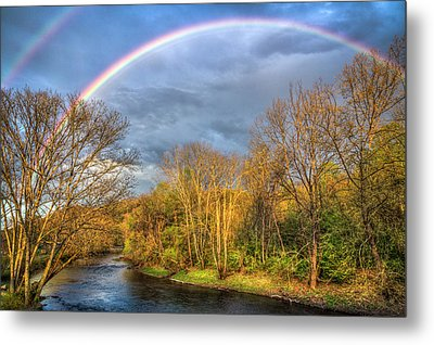 Metal Print featuring the photograph Rainbow Over The River by Debra and Dave Vanderlaan