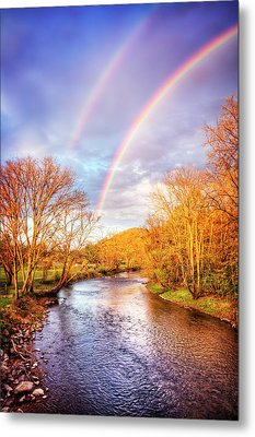 Metal Print featuring the photograph Rainbow Over The River II by Debra and Dave Vanderlaan