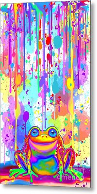 Metal Print featuring the painting Rainbow Painted Frog  by Nick Gustafson
