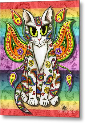Metal Print featuring the mixed media Rainbow Paisley Fairy Cat by Carrie Hawks