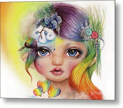 Metal Print featuring the mixed media Rainbow Rosalie  by Sheena Pike