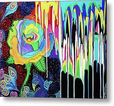 Rainbow Rose Metal Print by Laura Barbosa