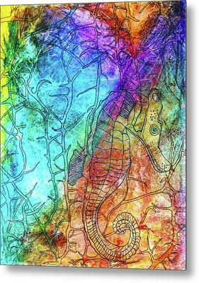 Rainbow Seahorse Metal Print by Janet Immordino