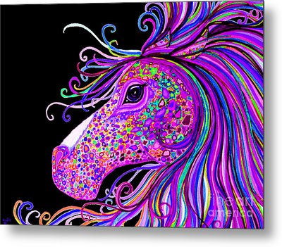 Rainbow Spotted Horse Head 2 Metal Print by Nick Gustafson