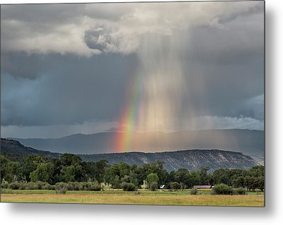 Rainbow Storm Over Log Hill Metal Print
