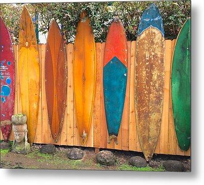 Surfboard Rainbow Metal Print
