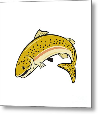 Rainbow Trout Jumping Cartoon Isolated Metal Print by Aloysius Patrimonio