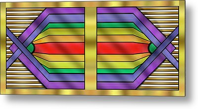 Metal Print featuring the digital art Rainbow Wall Hanging Horizontal by Chuck Staley