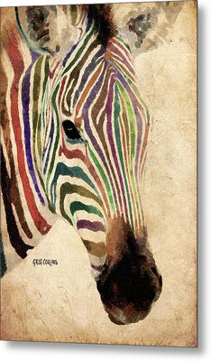Metal Print featuring the painting Rainbow Zebra by Greg Collins