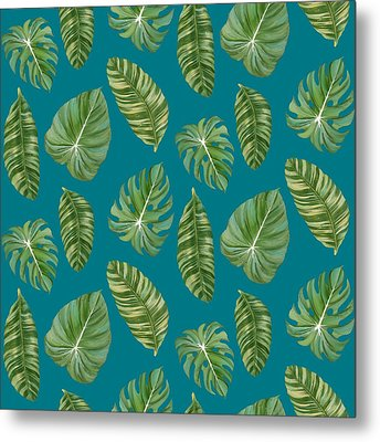 Rainforest Resort - Tropical Leaves Elephant's Ear Philodendron Banana Leaf Metal Print by Audrey Jeanne Roberts