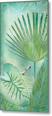 Rainforest Tropical - Elephant Ear And Fan Palm Leaves W Botanical Dragonfly Metal Print by Audrey Jeanne Roberts