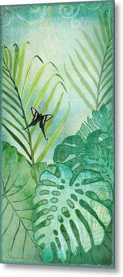 Rainforest Tropical - Philodendron Elephant Ear And Palm Leaves W Botanical Butterfly Metal Print by Audrey Jeanne Roberts