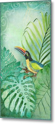 Rainforest Tropical - Tropical Toucan W Philodendron Elephant Ear And Palm Leaves Metal Print by Audrey Jeanne Roberts