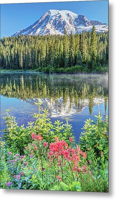 Metal Print featuring the photograph Rainier Wildflowers At Reflection Lake by Pierre Leclerc Photography