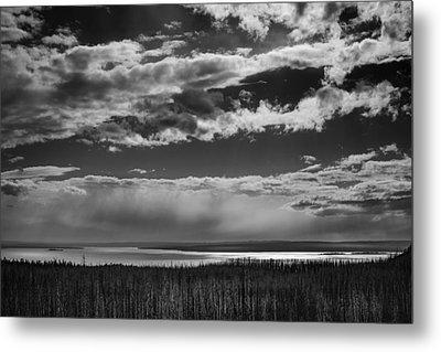 Metal Print featuring the photograph Raining At Yellowstone Lake by Jason Moynihan