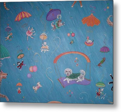 Metal Print featuring the painting Raining Cats And Dogs by Dee Davis