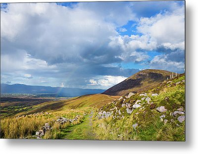 Raining Down And Sunshine With Rainbow On The Countryside In Ire Metal Print by Semmick Photo