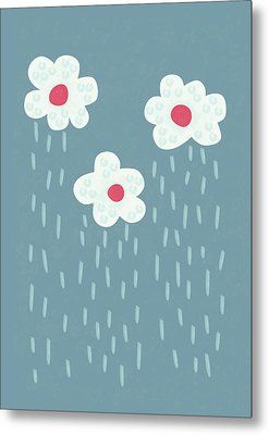 Raining Flowery Clouds Metal Print