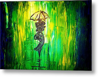 Metal Print featuring the painting Rainning Green by Piety Dsilva