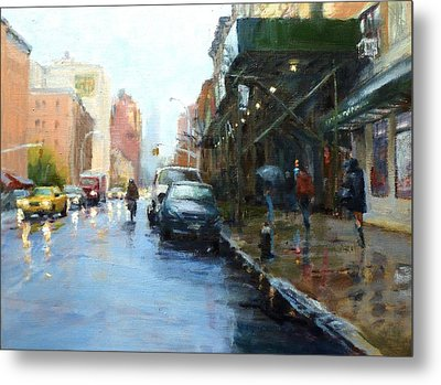 Rainy Afternoon On Amsterdam Avenue Metal Print