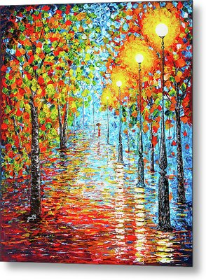 Metal Print featuring the painting Rainy Autumn Evening In The Park Acylic Palette Knife Painting by Georgeta Blanaru