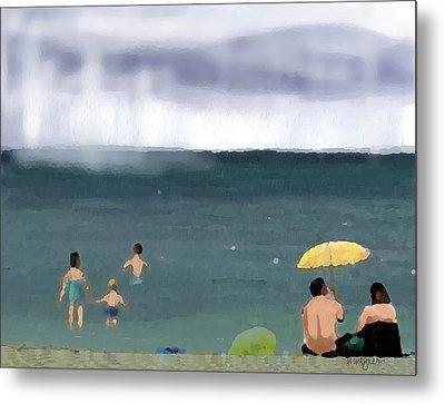 Rainy Beach Metal Print by Arline Wagner