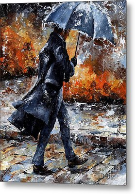 Rainy Day/07 - Walking In The Rain Metal Print by Emerico Imre Toth