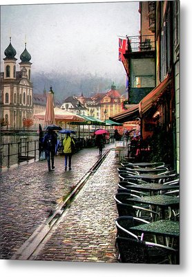 Rainy Day In Lucerne Metal Print by Jim Hill