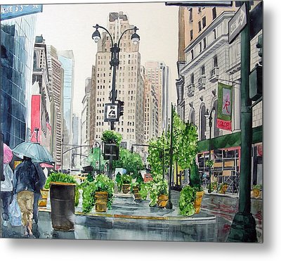 Rainy Day In New York Metal Print