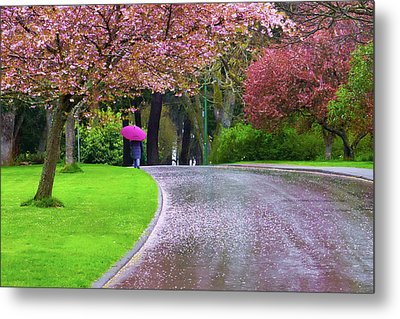Rainy Day In The Park Metal Print