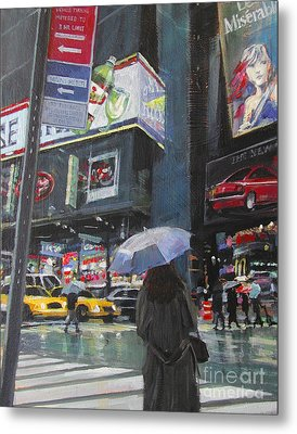 Rainy Day In Times Square Metal Print by Patti Mollica
