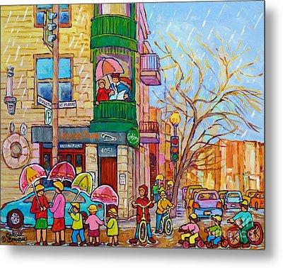 Rainy Day Painting Montreal City Scene Inspecteur Epingle Resto Bar Kids Umbrellas Family Fun Art Metal Print by Carole Spandau