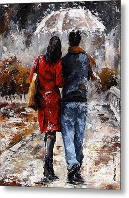 Rainy Day - Walking In The Rain Metal Print by Emerico Imre Toth