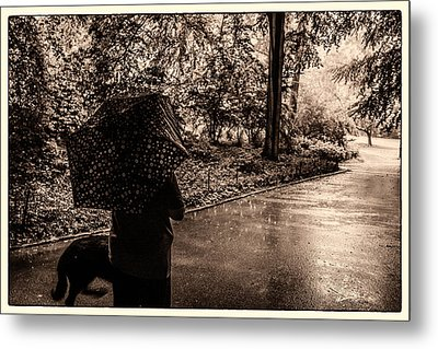 Metal Print featuring the photograph Rainy Day - Woman And Dog by Madeline Ellis