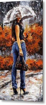 Rainy Day - Woman Of New York 14 Metal Print